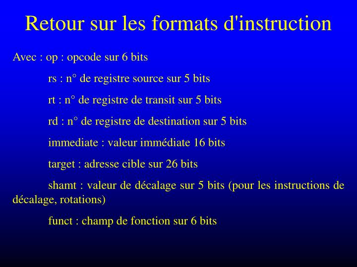 Retour sur les formats d'instruction
