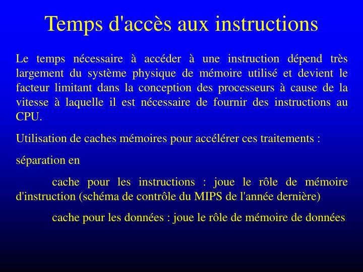 Temps d'accès aux instructions