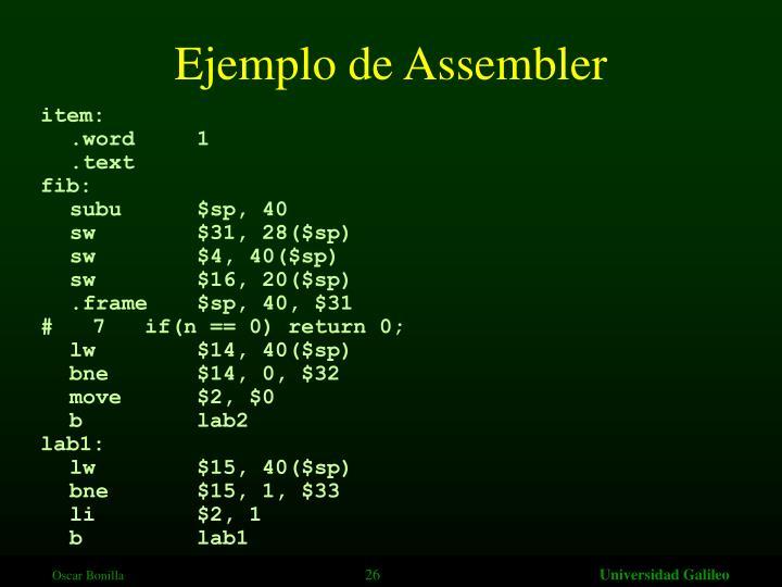 Ejemplo de Assembler