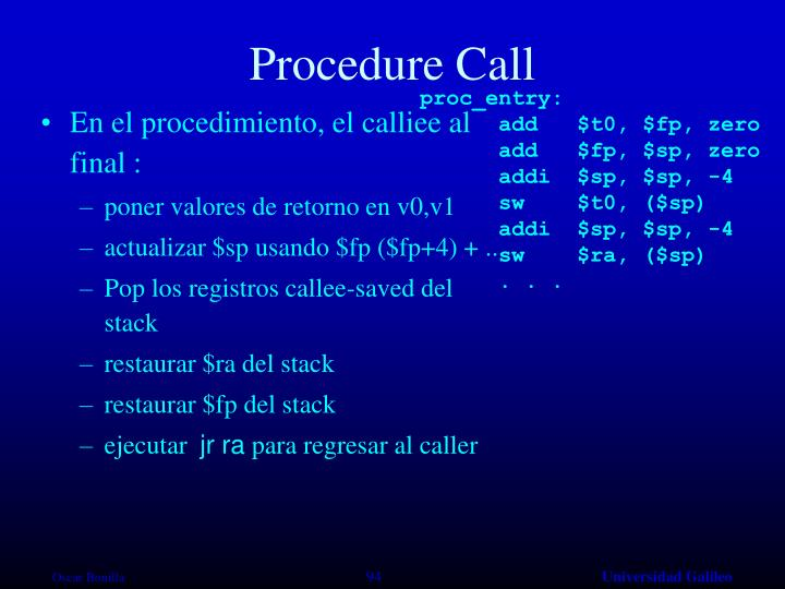 Procedure Call