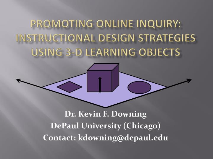 Promoting online inquiry instructional design strategies using 3 d learning objects