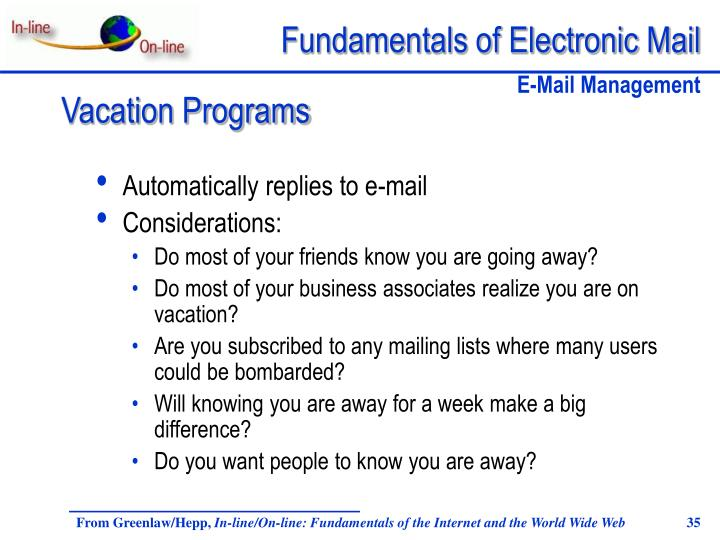 Automatically replies to e-mail