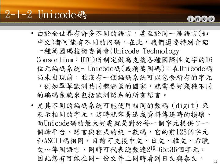 2-1-2 Unicode