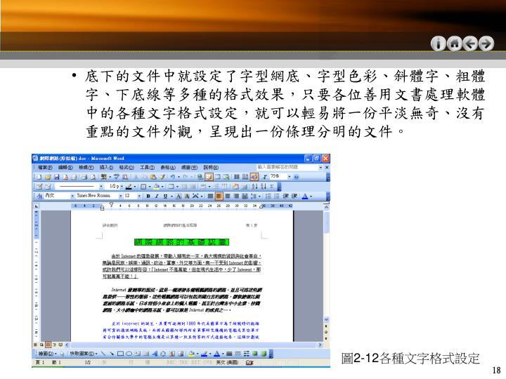 底下的文件中就設定了字型網底、字型色彩、斜體字、粗體字、下底線等多種的格式效果,只要各位善用文書處理軟體中的各種文字格式設定,就可以輕易將一份平淡無奇、沒有重點的文件外觀,呈現出一份條理分明的文件。