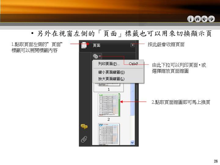 另外在視窗左側的「頁面」標籤也可以用來切換顯示頁面: