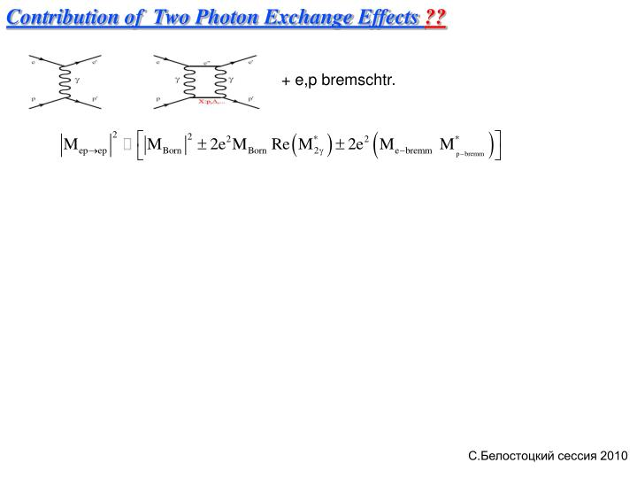 Contribution of  Two Photon Exchange Effects