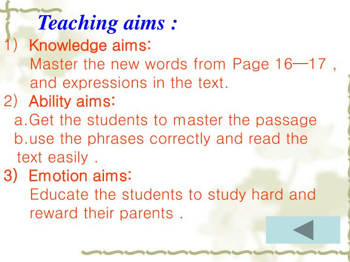 Teaching aims :