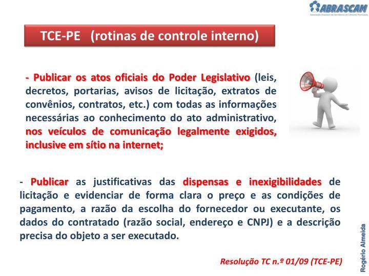 TCE-PE   (rotinas de controle interno)