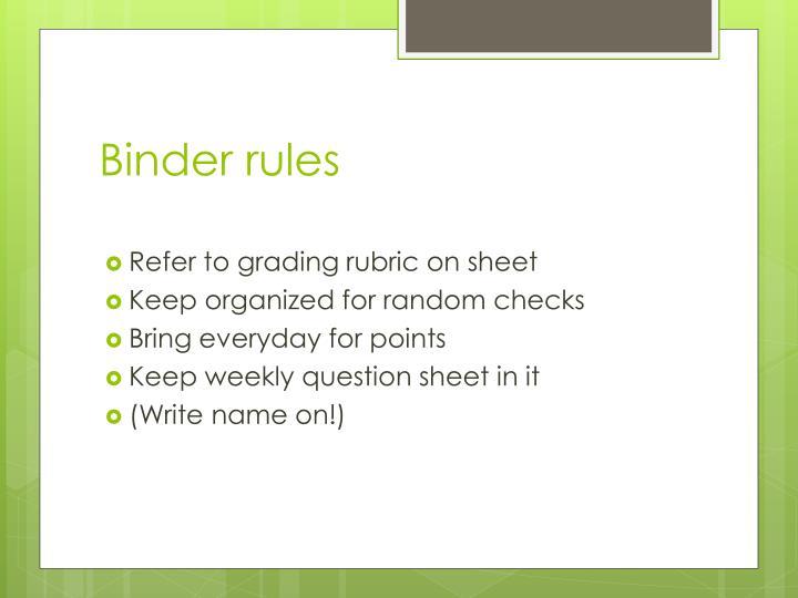 Binder rules