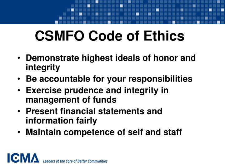 CSMFO Code of Ethics