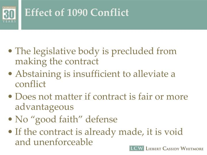 Effect of 1090 Conflict