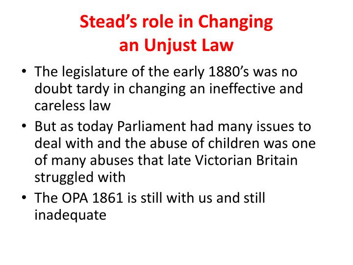 Stead's role in Changing