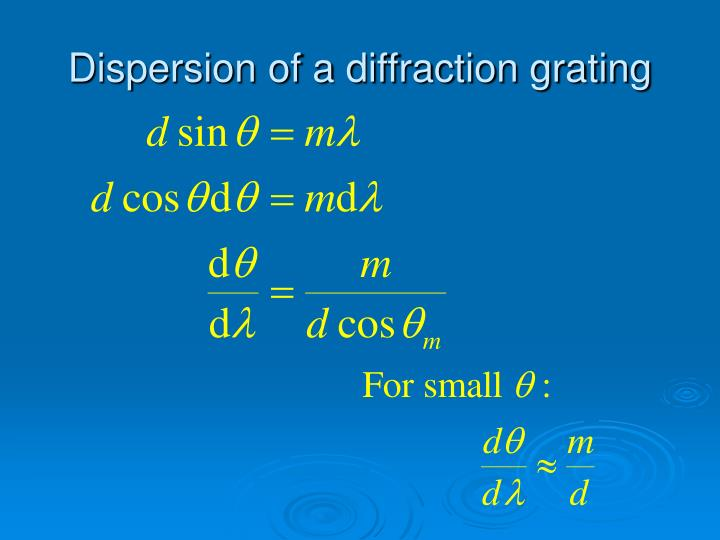 Dispersion of a diffraction grating