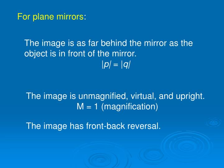 For plane mirrors