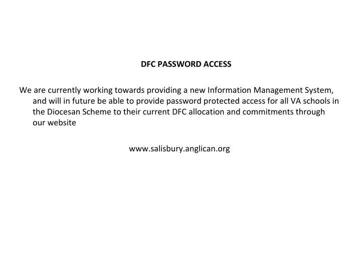 DFC PASSWORD ACCESS