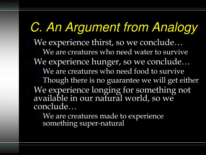 C. An Argument from Analogy