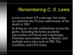 remembering c s lewis