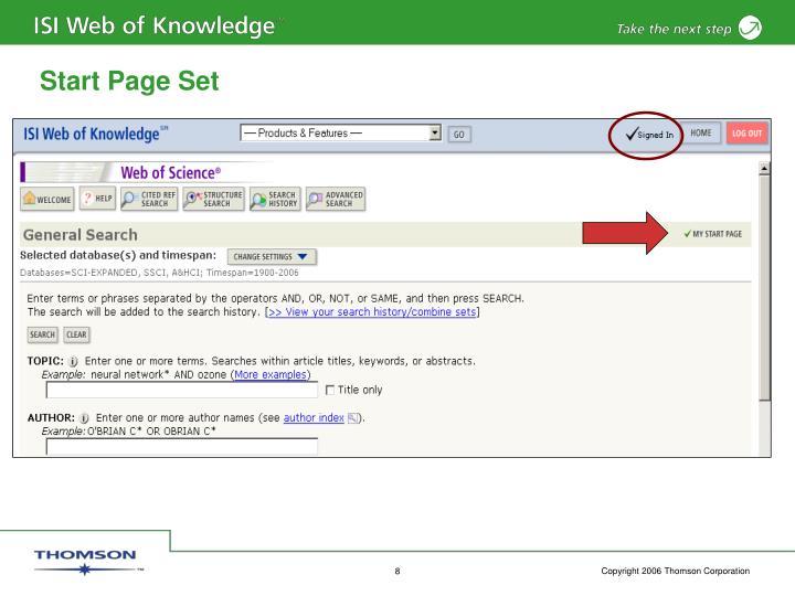 Start Page Set