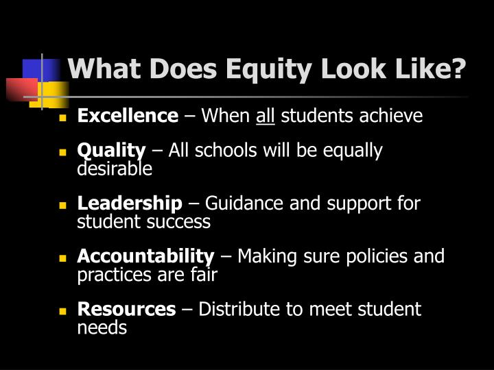 What Does Equity Look Like?