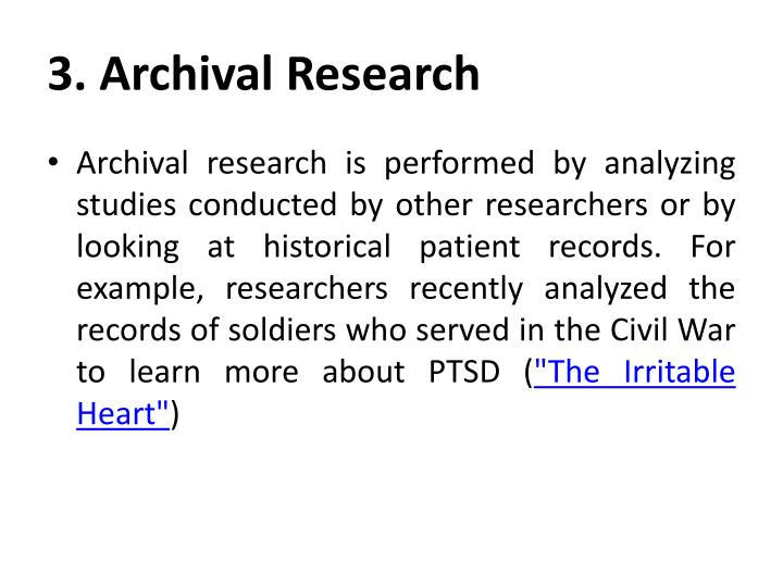 3. Archival Research