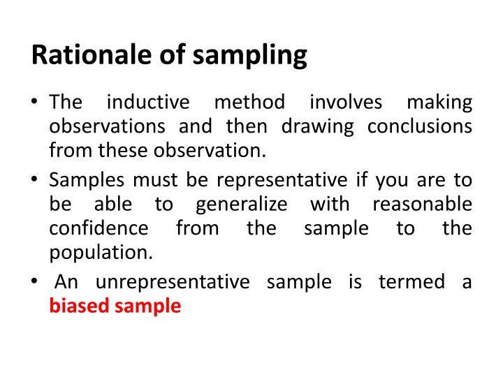 Rationale of sampling