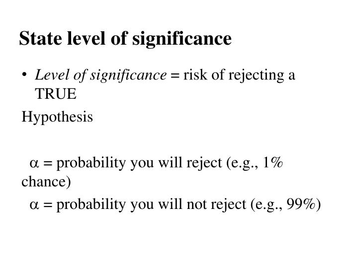 State level of significance