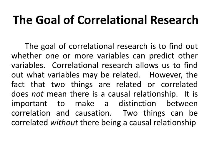 The Goal of Correlational Research