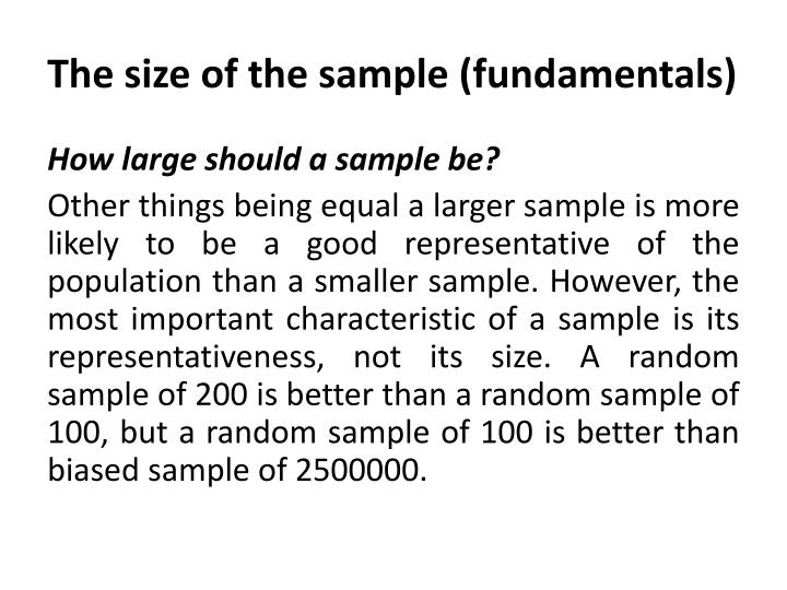 The size of the sample (fundamentals)