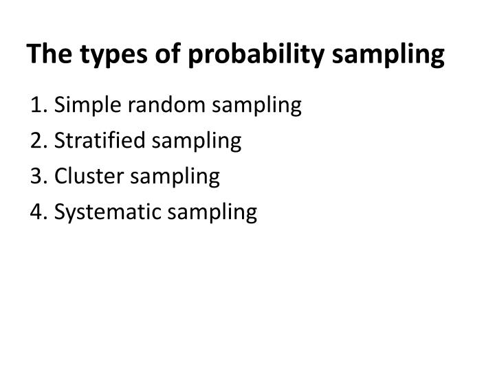 The types of probability sampling