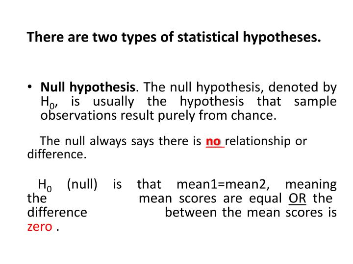 There are two types of statistical hypotheses.