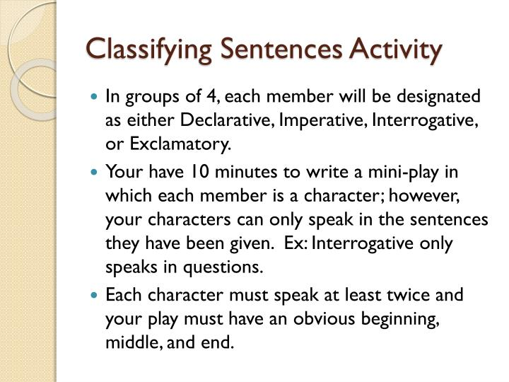 Classifying Sentences Activity