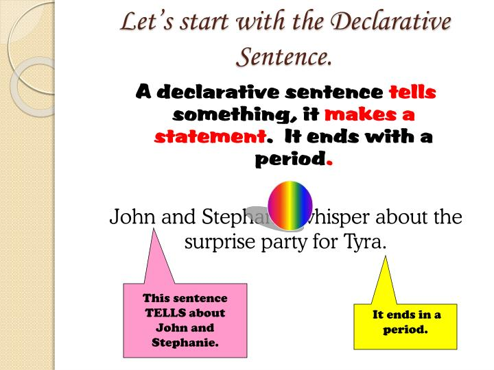 Let's start with the Declarative Sentence.
