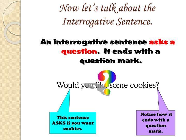 Now let's talk about the Interrogative Sentence.
