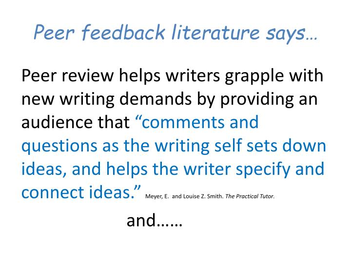 Peer feedback literature says