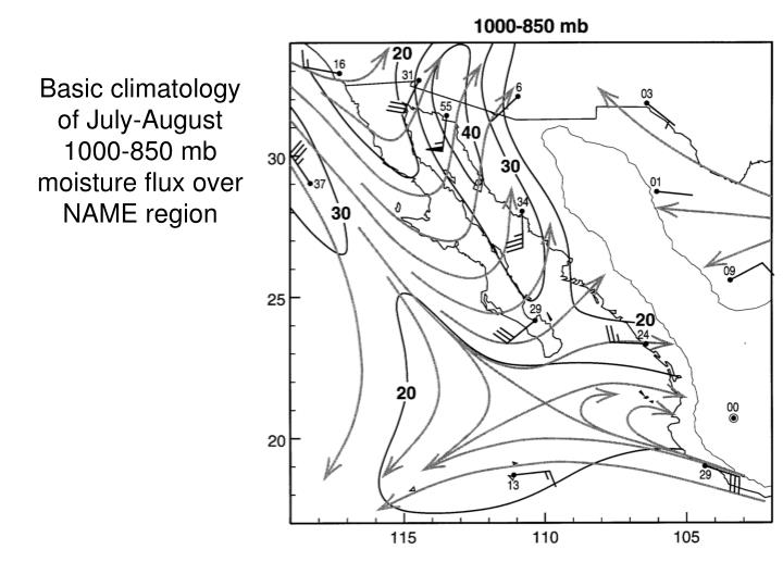 Basic climatology of July-August 1000-850 mb moisture flux over NAME region