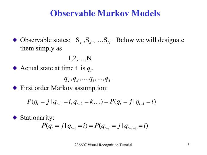 Observable markov models