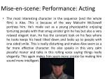 mise en scene performance acting