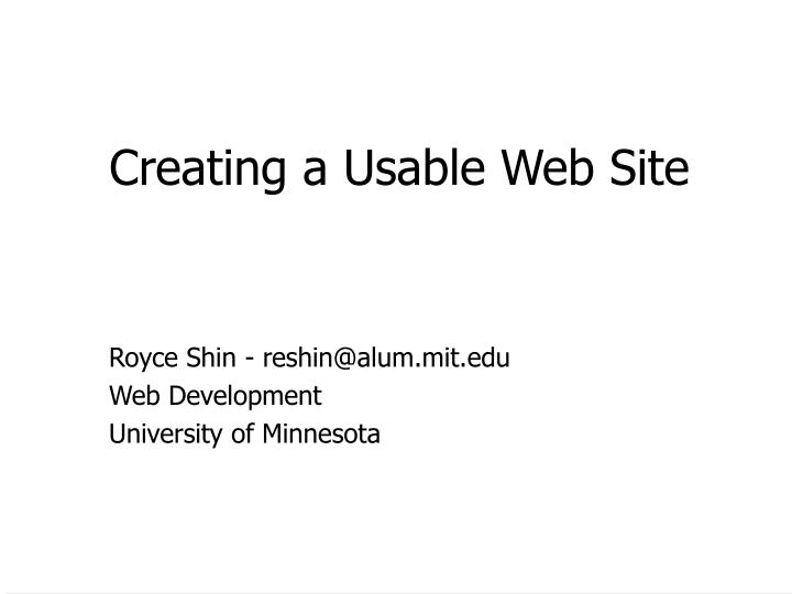 Creating a usable web site