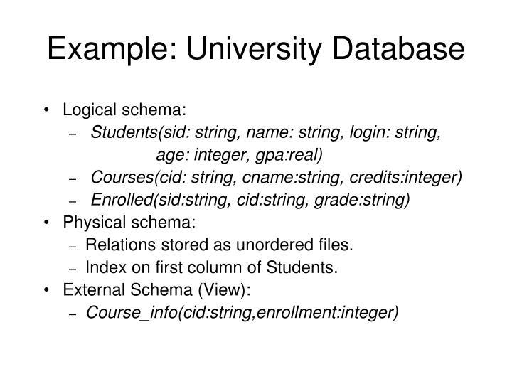 Example: University Database