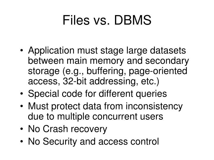 Files vs. DBMS