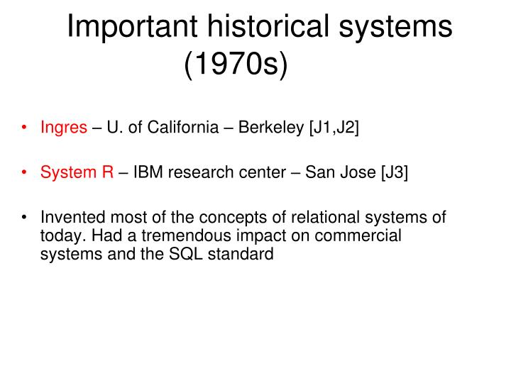 Important historical systems (1970s)