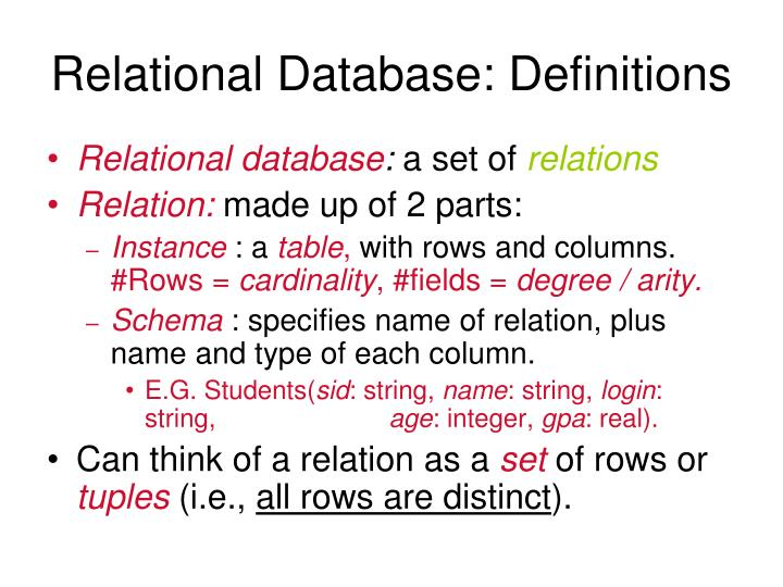 Relational Database: Definitions