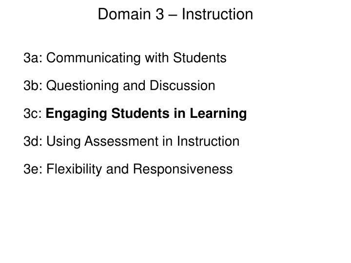 Domain 3 – Instruction