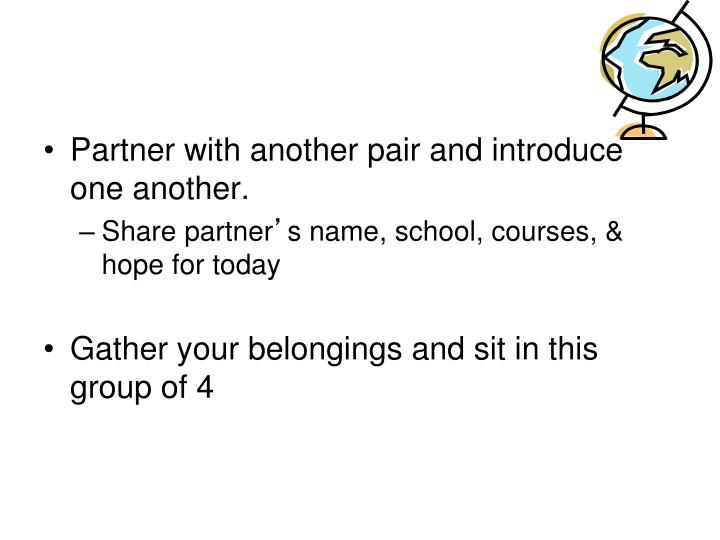 Partner with another pair and introduce one another.