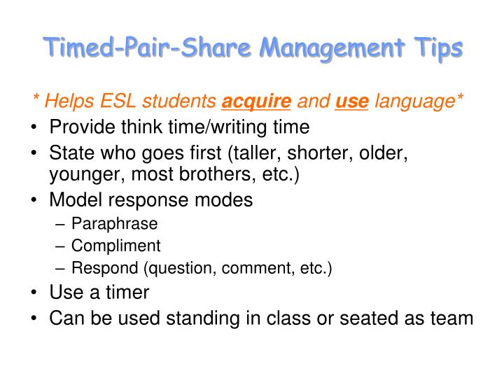 Timed-Pair-Share Management Tips