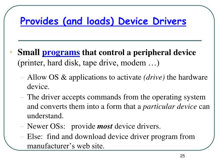 Provides (and loads) Device Drivers