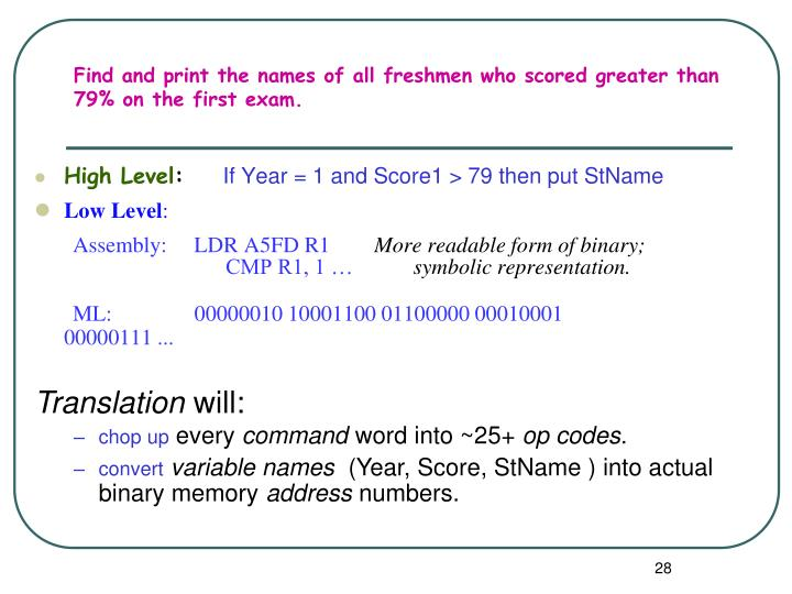 Find and print the names of all freshmen who scored greater than 79% on the first exam.