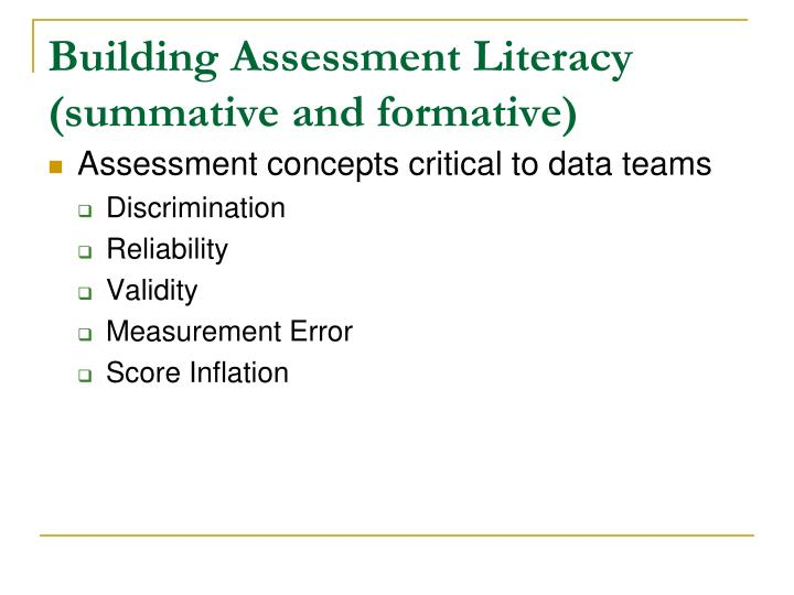 Building Assessment Literacy (summative and formative)
