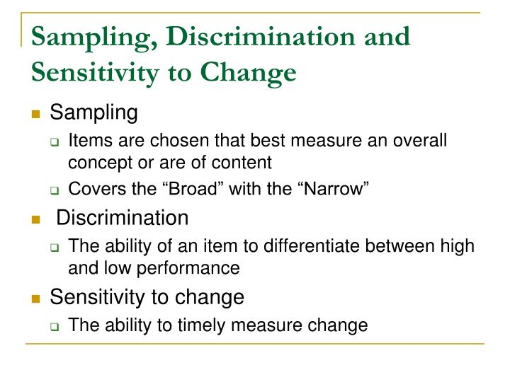 Sampling, Discrimination and