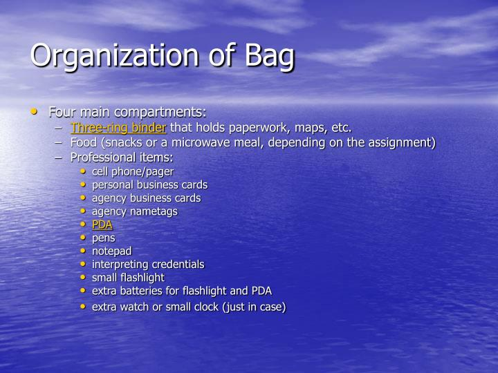 Organization of Bag